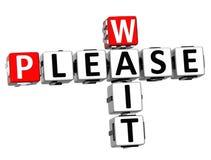 3d esperam por favor o texto das palavras cruzadas Imagens de Stock