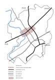2d esquema do mapa da cidade Fotografia de Stock