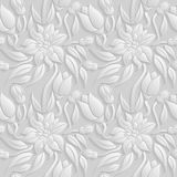 3D estampado de flores blanco inconsútil, vector La textura sin fin se puede utilizar para el papel pintado, terraplenes de model Imagen de archivo libre de regalías