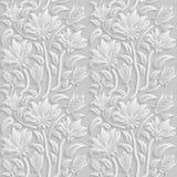 3D estampado de flores blanco inconsútil, vector La textura sin fin se puede utilizar para el papel pintado, terraplenes de model Fotos de archivo