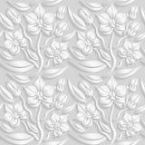 3D estampado de flores blanco inconsútil, vector La textura sin fin se puede utilizar para el papel pintado, terraplenes de model Fotos de archivo libres de regalías