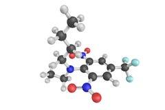 3d estructura del benfluralin, un herbicida de la dinitroanilina ilustración del vector
