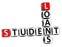 3D estudante Loans Crossword Imagem de Stock