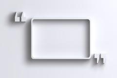 3D esvaziam a cotação - quadro das marcas na parede branca Foto de Stock Royalty Free