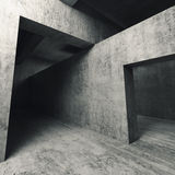 3d esvaziam o interior concreto, paredes com entradas Imagem de Stock