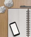 3d esvaziam o telefone celular e o livro de nota Imagens de Stock