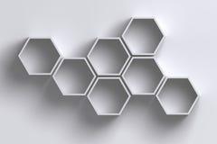 3D esvaziam prateleiras do hexágono do favo de mel na parede branca com sombra Imagens de Stock