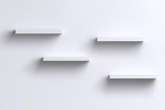 3D esvaziam prateleiras horizontais na parede branca com sombra Imagem de Stock