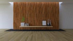 3D esvaziam a sala com parede de bambu Imagem de Stock