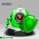 3d esverdeiam o guerreiro do eyeborg do robo com uma espada Imagem de Stock