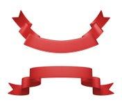 3d etykietki czerwony tasiemkowy set, projekta element Fotografia Stock