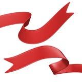 3d etykietki czerwony tasiemkowy set, projekta element Zdjęcie Royalty Free