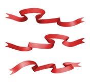 3d etykietki czerwony tasiemkowy set, projekta element Zdjęcie Stock