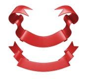 3d etykietki czerwony tasiemkowy set, projekta element Zdjęcia Stock