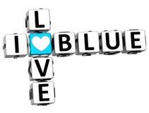 3D eu amo palavras cruzadas azuis Ilustração Stock