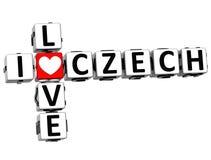 3D eu amo palavras cruzadas checas Imagem de Stock Royalty Free