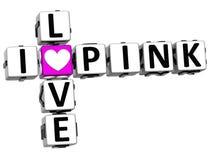 3D eu amo palavras cruzadas cor-de-rosa Ilustração Stock
