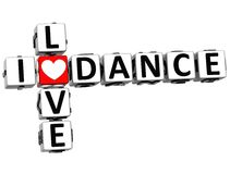 3D eu amo palavras cruzadas da dança Ilustração Royalty Free
