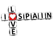 3D eu amo palavras cruzadas da Espanha Imagens de Stock