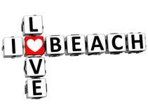 3D eu amo palavras cruzadas da praia Fotos de Stock Royalty Free