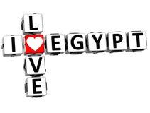 3D eu amo palavras cruzadas de Egito Fotos de Stock