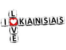 3D eu amo palavras cruzadas de Kansas Ilustração Stock