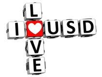 3D eu amo palavras cruzadas de USD Fotografia de Stock Royalty Free