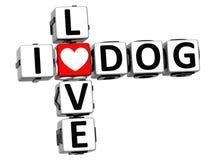 3D eu amo palavras cruzadas do cão Fotografia de Stock Royalty Free