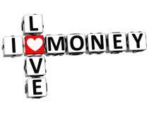 3D eu amo palavras cruzadas do dinheiro Imagem de Stock Royalty Free