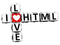 3D eu amo palavras cruzadas do HTML Imagem de Stock