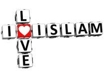 3D eu amo palavras cruzadas do Islã Fotos de Stock Royalty Free