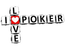 3D eu amo palavras cruzadas do pôquer Foto de Stock
