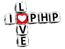 3D eu amo palavras cruzadas do PHP Fotos de Stock