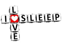 3D eu amo palavras cruzadas do sono Imagens de Stock