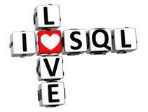 3D eu amo palavras cruzadas do SQL Foto de Stock