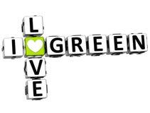 3D eu amo palavras cruzadas verdes Foto de Stock
