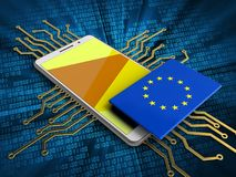 3d EU flag. 3d illustration of white phone over digital background with electronic circuit and EU flag Royalty Free Stock Photography