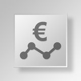 3D Euro Analytics icon Business Concept. 3D Symbol Gray Square Euro Analytics icon Business Concept Royalty Free Stock Image