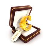 3d euro- assinam dentro a caixa de joia Imagem de Stock Royalty Free