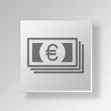 3D Euro Bills Button Icon Concept Stock Images