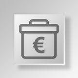 3D euro briefcase icon Business Concept Royalty Free Stock Image