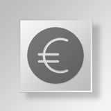 3D Euro Button Icon Concept Royalty Free Stock Image