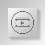 3D Euro Button Icon Concept Stock Images