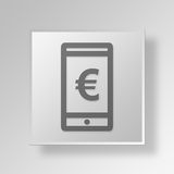 3D Euro Cell Phone icon Business Concept. 3D Symbol Gray Square Euro Cell Phone icon Business Concept Stock Photography