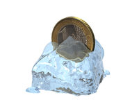 3d euro coin. In a melted ice cube Stock Image