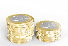 3d euro coin. Euro coin on white background 3d rendering image Stock Photography