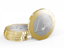 3d euro coin. Euro coin on white background 3d rendering image Stock Photo