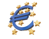 3D  Euro and european union sign isolated on white with clipping Royalty Free Stock Photo