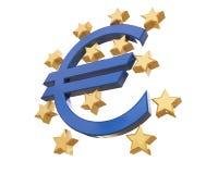 3D euro i europejskiego zjednoczenia znak odizolowywający na bielu z ścinkiem Zdjęcie Royalty Free