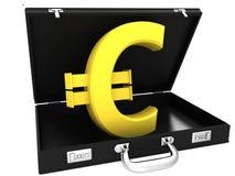 3D euro podpisuje wewnątrz czarną skrzynkę Zdjęcia Stock